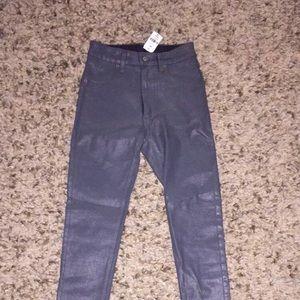 Grey high rise wax pants